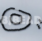 10mm black agate necklace bracelet earring set