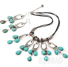 garnet turquoise necklace earrings set