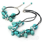 white porcelain burst pattern turquoise necklace bracelet set