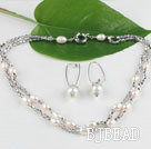 white fresh water pearl and crystal necklace earrings set