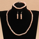Graceful Hot Sale 6-7mm Natural All Light Pink Pearl Jewelry Set With Heart Clasp (Necklace &Bracelet & Earrings)