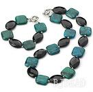 saleable 16-18mm black crystal and phoenix stone necklace bracelet sets