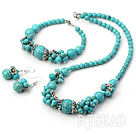 popular turquoise necklace bracelet earrings jewelry set