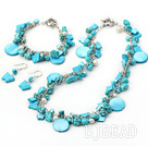 turquoise and pearl shell necklace bracelet earring sets