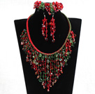 2015 Beautiful Shining Red & Green Crystal Statement Christmas Jewelry Set (Necklace, Bracelet & Earrings) under $ 100