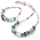 14*18mm natural rainbow fluorite necklace bracelet sets