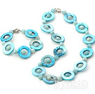 dyed blue amazon stone and shell necklace bracelet sets