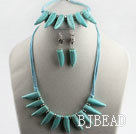 wonderful horn shape turquoise necklace bracelet earrings set