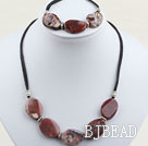 chunky style 18*25mm agate set with lobster clasp