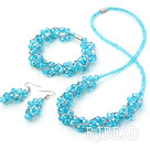 Fashion style blue manmade crystal sets( necklace bracelet and matched earrings)