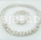 8mm light grey crystal necklace bracelet sets