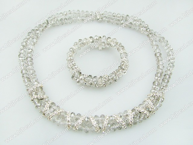 8mm light grey crystal necklace bracelet sets