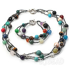 beautiful colorful stone ball necklace bracelet set