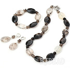 chunky style smoky quartz necklace bracelet earring sets