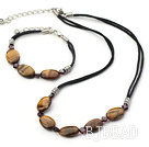 tiger's eye necklace bracelet sets wioth extendable chains