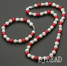 8-9mm white pearl and red coral necklace bracelet sets