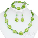 green manmade crystal colored glaze necklace bracelet earring set