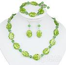 green manmade crystal colored glaze necklace bracelet earring set under $ 40