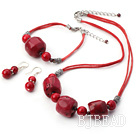 red big coral bead necklace bracelet earrings sets under $ 40