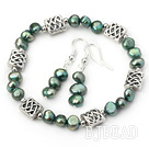 dyed green pearl bracelet and matched earrings set