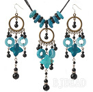 black agate and blue jade necklace earring sets