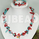turquose and coral necklace bracelet set