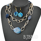blue agate necklace earrings set with big metal loops