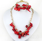 red coral necklace bracelet set with gold color chains under $ 40