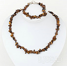 6-8mm tiger eye chips necklace bracelet set with toggle clasp under $5