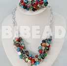 multi color beads necklace bracelet set