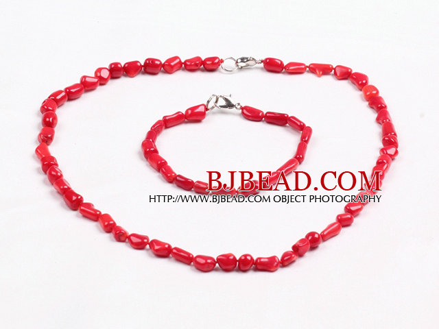 Simple Style Single Strand Irregular Shape Red Coral Beads Jewelry Set(Necklace With Matched Bracelet)
