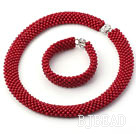 Tube Shape Round Red Coral Woven Beaded Set ( Necklace and Matched Bracelet )