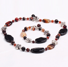 Vintage Style Multi Color Agate Jewelry Set(Necklace With Matched Bracelet)
