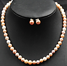 7-8mm White Pink and Violet Color Pearl Necklace and Matched Studs Earrings Sets