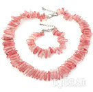 popular 6*18mm cherry quartz necklace bracelet set under $ 40