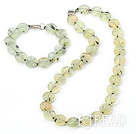 5*12mm green rutilated quartz necklace bracelet sets