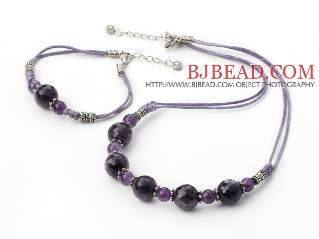 exquisite natural amethyst necklace and bracelet set