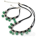 fashion 8mm aventurine necklace bracelet sets with extendable chain