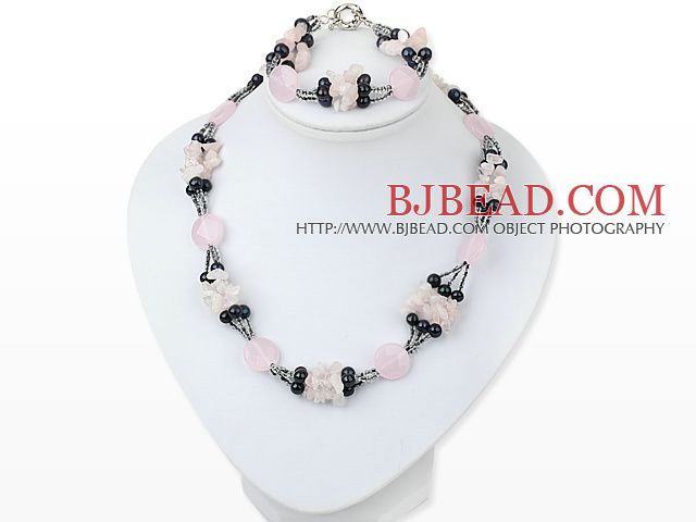 three strand stunning dark pearl rose quartze necklace bracelet set