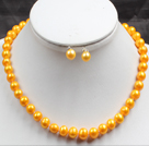 8-9mm Yellow Color Pearl Necklace and Matched Studs Earrings Sets