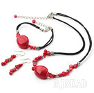 red coral necklace bracelet earring sets