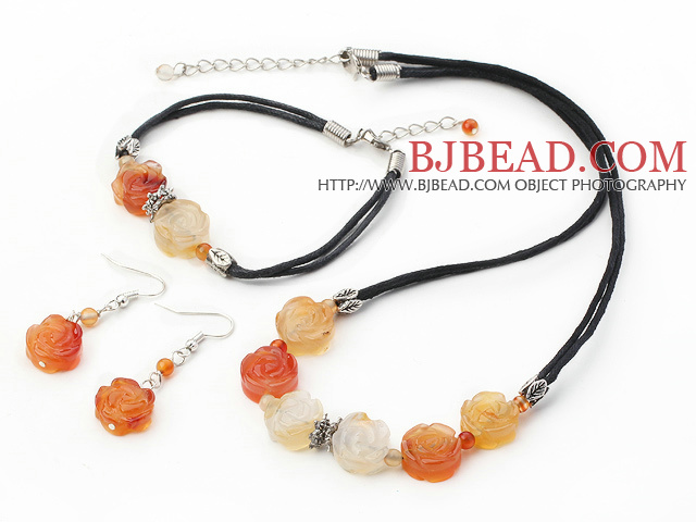 lovely agate flower necklace bracelet earring sets