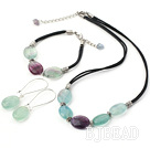14*19mm rainbow fluorite necklace bracelet earring sets