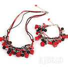 esquisite coral and black agate and crystal jewelry sets