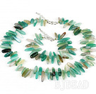 5*22mm green agate necklace bracelet set wirh S shape clasp