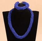 Populaire stijl Multi Strands Deep Blue Mini Beads Twisted Chunky partij sieraden set (ketting en armband)