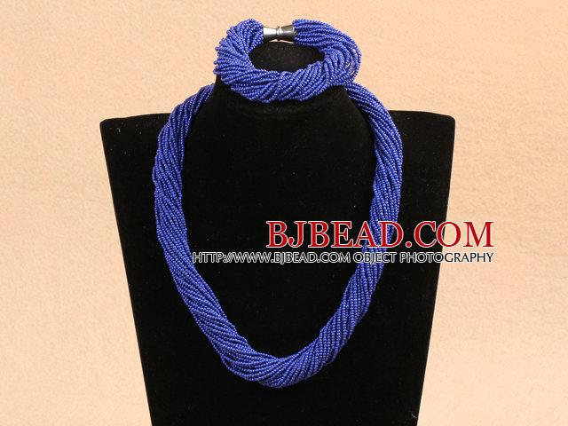Popular Style Multi Strands Deep Blue Mini Beads Twisted Chunky Party Jewelry Set (Necklace & Bracelet)