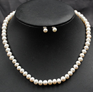 7-8mm White Color Pearl Necklace and Matched Studs Earrings Sets