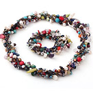 multi strand colorful stone necklace bracelet set
