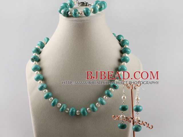 turquoise and white pearl necklace bracelet earrings set